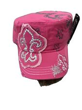 NEW Cowgirl US Womens Pink Sequin Bling Cadet Cap