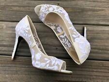 Betsey Johnson Women Heels Shoes Peep Toe White Laces SB Adley Pump Size 8.5