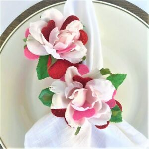 2pc Handmade Single Red Rose and Hearts Napkin Rings Wrapped in Pink Ribbon