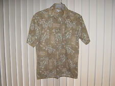 Men's Medium Hawaiian SS Gray/Earth Tones Floral by Pierre Cardin