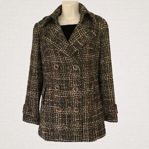 Trina Turk Women's Tweed Coat Jacket Size 4 Multicolor Pockets Button