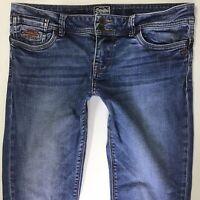 Ladies Superdry Wren Slim Leg Blue Faded Jeans W32 L32 761h)