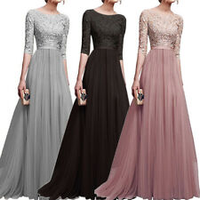 Women Vintage Lace Formal Long Maxi Dress Swing Wedding Evening Party Ball Gown