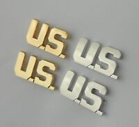 TWO PAIRS SILVERY & GOLDEN U.S. ARMY OFFICER COLLAR LAPEL PINS LETTER US BADGES