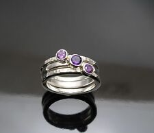 New Hand made Standard Silver Stack rings set with Amethyst