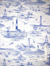 Nautical Toile Sandpiper Lighthouse Scenic Cotton Fabric Springs CP34970 - Yard