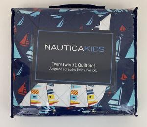 "Nautica Kids Twin/Twin XL Quilt Pillow Sham Set Sailboats Nautical 68"" x 86"""
