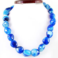 1170.50 CTS NATURAL BLUE ONYX 20 INCHES LONG FACETED UNTREATED BEADS NECKLACE
