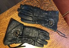 Vintage Equestrian Black Leather Gloves W/Trim