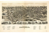 Map Of Roanoke, Virginia;Antique Map; Pictorial or Birdseye Map, 1891