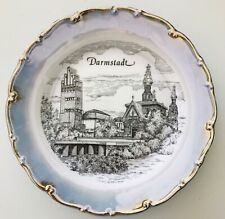 Darmstadt Germany Decorative Plate Pale Blue Black with Silver Edge 9-7/8""