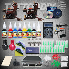 Pro Compass Tattoo Machine Kit Cook Series 2 Guns Inks Power Supply Set