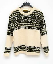 WOMENS NORDSTRIKK JUMPER 100 % WOOL NORDIC FAIR ISLE SWEATER IVORY SIZE S SMALL