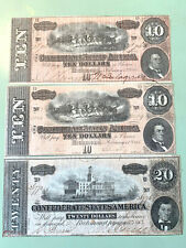 Lot of 3 - CSA 1864 Confederate Currency T-68 $10 & T-67 $20 Notes - Nice