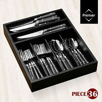 36-Piece Cafe Cutlery Set, Stainless Steel, Knives Forks Spoons Teaspoons & Tray