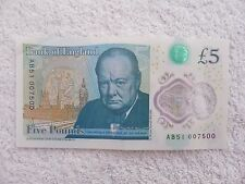 NEW POLYMER £5 POUND NOTE, JAMES BOND - FIAT 500 SERIAL NUMBER AB51 007500.