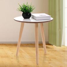 Three Legs Modern Round Coffee End Table Pine Wood Tea Table White