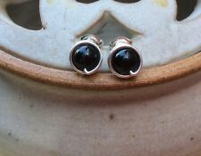 Black Tourmaline Studs Sterling Silver Studs October Birthstone Black Posts UK