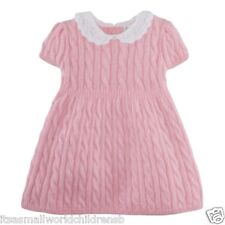 RALPH LAUREN pink cable DRESS baby girls 3/6M (eu68) crochet collar BNWT