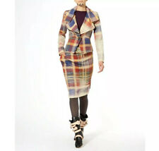 VIVIENNE WESTWOOD Tartan Asymmetric Virgin Wool Skirt IT38 UK 6 NEW £385