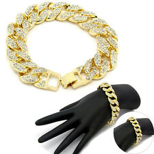 14k Gold Finish Iced Out Hip Hop CZ Bracelet Mens Miami Cuban