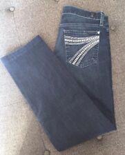 7 For All Mankind DOJO Trouser Straight Leg Jeans Rare Beaded White Pocket 7 27