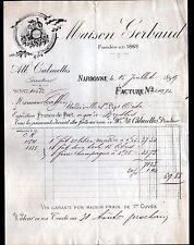 """NARBONNE (11) VINS """"Maison GERBAUD / Alb. CALMETTES Directeur"""" en 1899"""