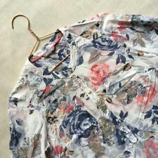 M&S Summer Holiday Cotton Silk Mix Floral Shabby Chic Roses White Blouse Top 10