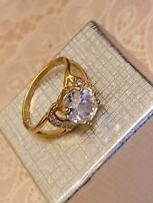 Fashion Jewellery gold plated ring size 8 with clear Stone