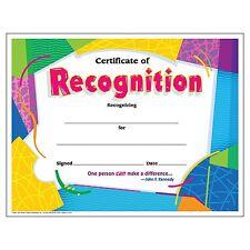 Keepsake Trend Enterprises Certificate of Recognition, 30/pkg Free Shipping