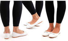 Kelsi Womens Ladies Ballet Bow Slip On Shoes Casual White 5 Free Shipping