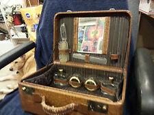 Vintage  Faux Alligator Train Case Hard side Suitcase bag Make up Overnight