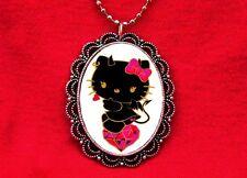 HELLO DEVIL KITTY HEART CAT DIAMOND PENDANT NECKLACE