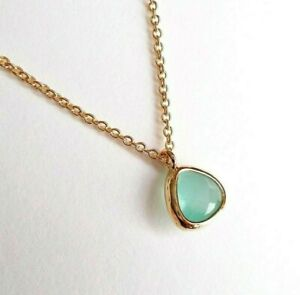 Gold-filled Tiny Crystal Pendant Necklace - Mint Green Small Gem Minimal Jewelry
