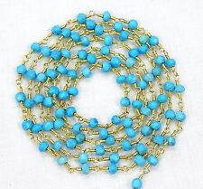 5 Feet Natural TURQUOISE Gemstone Beads Gold Plated Rosary Link Chain For Sale.