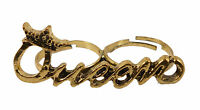 Quirky Gold QUEEN Costume Jewellery Double Finger Ring
