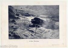 Brandung - Holzstich nach K. Böhm um 1895 - Meer