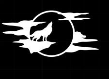 Wolf Howling Moon Silhouette Car Truck Window White Vinyl Decal Sticker