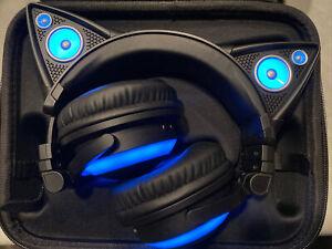 Brookstone Axent Wear Blue Yuumei Cat Ear Headphone Blue Test Work w/case