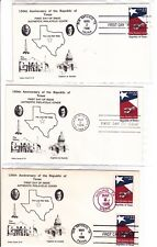 2204 TEXAS Ashley Cachet 3 FDCs San Antonio,WOTB,Goliad Sesquicentennial Covers!
