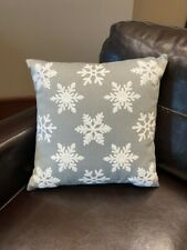 "NEW Pottery Barn Falling Snowflake Crewel Pillow 16"" Grey White Winter Holiday"