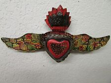 Winged Sacred Heart Tin Door Topper #3-Painted-Mexican Folk Art-Handmade-17x9 in