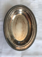 "Crescent Silver Plate Oval Dish #3157 HEAVY Gadroon Rope Pattern 11-3/4""x8-3/4"""