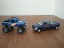 Blue Tonka Off road Jeep 2004 & Blue Dakota Ram Dually Diecast pickup 2004