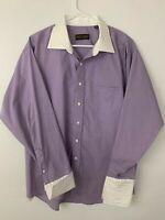 Donald J. Trump Dress Shirt Button Up Purple Signature Collection 17 1/2 34/35