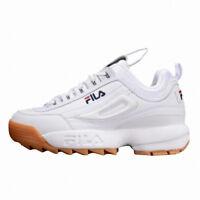 New Original FILA Men's Disruptor II 2 Shoes Sneakers- White/Brown(FS1HTA1072X)