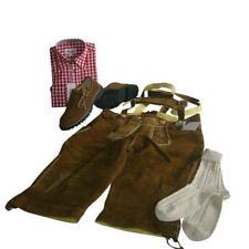 Trachten-Set 4-teilig Kniebundhose Gr. 50 nuss Hemd rot Haferlschuhe & Socken