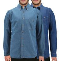 Men's Long Sleeve Button Up Casual Cotton Denim  Collared Classic  Dress Shirt
