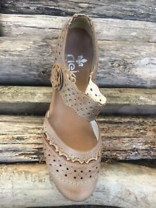 🤎RIEKER ANTISTRESS LEATHER BEIGE HEELED COMFORT SHOES SIZE 4🤎