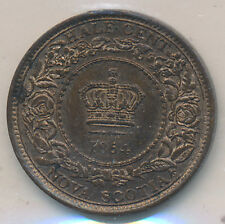NOVA SCOTIA CANADA 1/2 CENTS 1864 - ICCS MS-63 RED AND BROWN